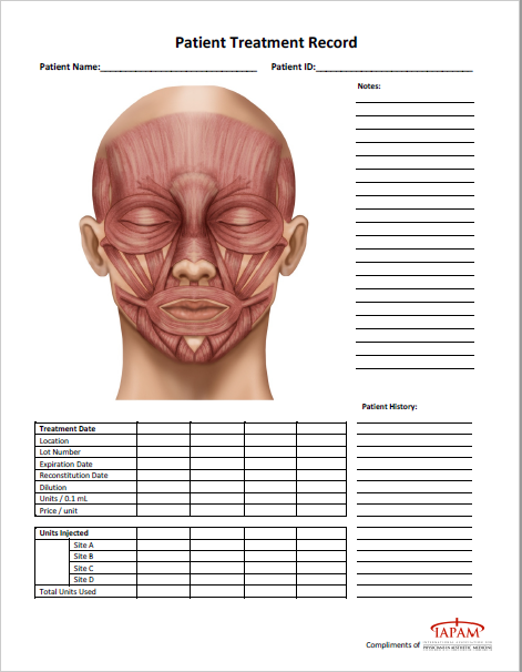 Cosmetic Injectables Patient Chart