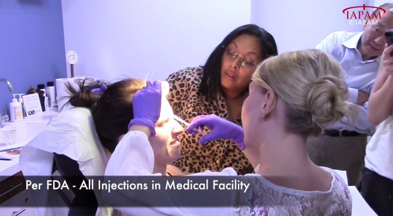 female patient getting forehead injection